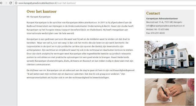Advocaat Karapet Karapetyan website