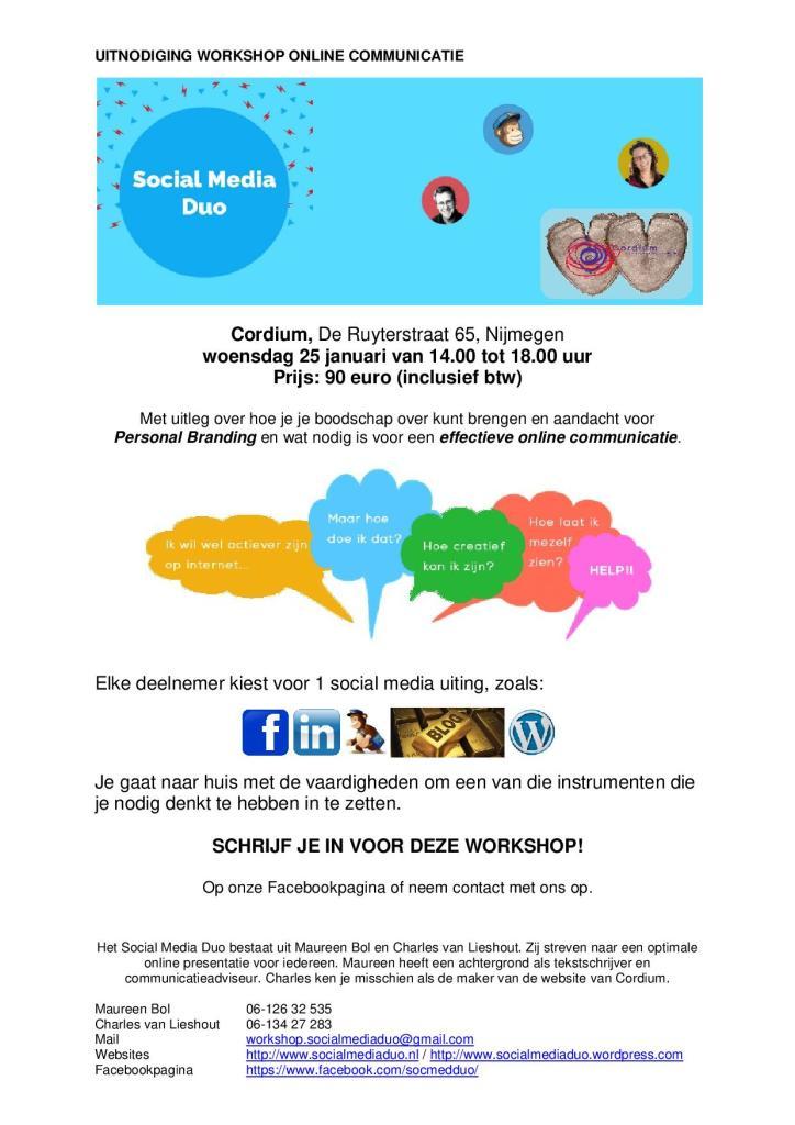 Uitnodiging Workshop Online Communicatie Cordium