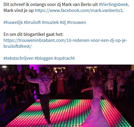 Aankondiging op Facebook over het blogartikel voor de website Trouwen in Brabant in opdracht van dj Mark.